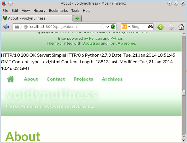 Web page with HTTP headers showing