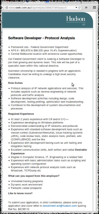 Seek job ad screenshot